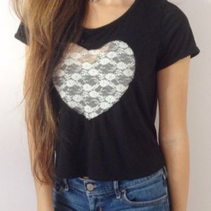 Kirra Lace Heart Boxy Crop Top